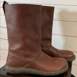Born Brown Leather Slip on Mid Calf Boots 9
